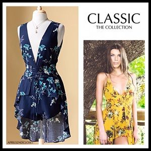 BOHO FLORAL ROMPER MINI MIDI DRESS OVERLAY A2C